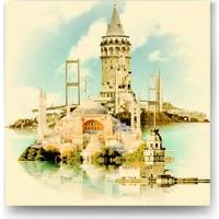 Evdeka Dört Tarafı İstanbul Konulu Kanvas Tablo