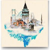 Evdeka İstanbulun Dört Tarafı Kış Temalı Kanvas Tablo