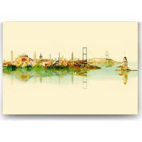 Evdeka Uçtan Uca İstanbulda Bahar Desenli Kanvas Tablo