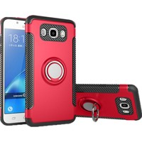 Case 4U Samsung Galaxy J7 Prime Kılıf Yüzüklü Darbeye Dayanıklı Kırmızı (Mıknatıslı Araç Tutucu Uyumlu)