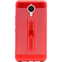 Gpack General Mobile Gm5 Plus Kılıf Jaguar Delikli Standlı Parmak Tutucu Kılıf Kırmızı + Kalem + Cam