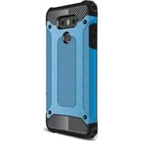 Gpack LG G6 Kılıf Sert Darbe Emici Crash Kapak Mavi + Kalem + Cam