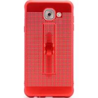 Gpack Samsung Galaxy J7 Max Kılıf Standlı Parmak Tutucu Kılıf Kırmızı + Cam