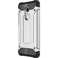 Gpack Xiaomi Redmi Note 4X Kılıf Darbe Emici Crash Arka Kapak Gümüş + Cam