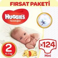 Huggies Unisex Bebek Bezi Jumbo 2'li Paket Yenidoğan 2 Beden 124 Adet