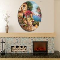 Artmoda Manzara Dekoratif Kabartmalı Oval Puf 37x48