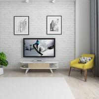 Mars Mobilya Sima Meşe - Beyaz Tv Sehpası