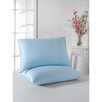 Eponj Home 2'li Yastık Kılıfı %100 Pamuk D.Boya Ranforce Buzul Mavi