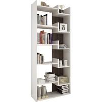 Rani K3 Kitaplık 6 Raflı Modern Tasarım Ev Ofis Kütüphane Beyaz Ceviz