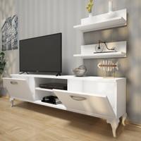 Rani Siesta Duvar Raflı Tv Sehpası - Kitaplıklı Tv Ünitesi Modern Ayaklı Tasarım Beyaz