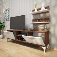 Rani Siesta Duvar Raflı Tv Sehpası - Kitaplıklı Tv Ünitesi Modern Ayaklı Tasarım Minyatür Ceviz - Beyaz