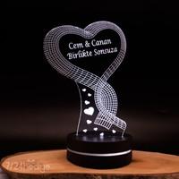 7/24 Hediye Sevgiliye Hediye Kalp Şeklinde 3D Led Lamba Gece Lambası