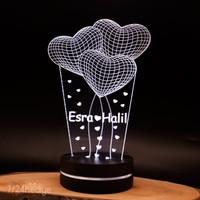 Sevgiliye Hediye İsme Özel Kalpli 3D Boyutlu Lamba