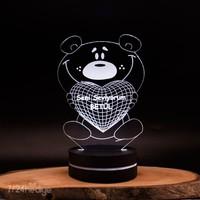 Kalpli Ayıcık 3D Boyutlu Led Dekoratif Gece Lambası