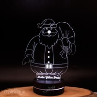 Yılbaşı Hediye İsme Özel Noel Baba Temalı 3D Led Lamba