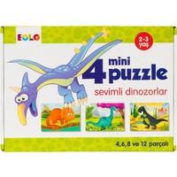 4 Mini Puzzle :Sevimli Dinazorlar