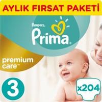 Prima Bebek Bezi Premium Care 3 Beden Midi Aylık Fırsat Paketi 204 Adet