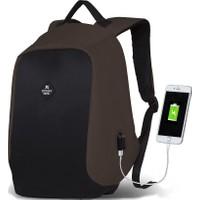 My Valice Smart Bag Secret Usb Şarj Girişli Akıllı Sırt Çantası Kahverengi