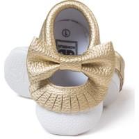 Romirus Bebek Ayakkabı Makosen Fiyonk ve Püsküllü Beyaz Gold 18