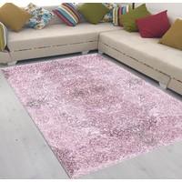 Best Home Latex Taban Dijital Baskılı Saçaklı Halı Romantik Pembe 80X150 Cm