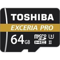 Toshiba Exceria Pro 64GB 270MB-250MB/s microSDHC/ microSDXC UHS-II Class 3 MicroSD Kart + Adaptör THN-M501G0640E7