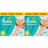 Prima Bebek Bezi Aktif Bebek 6 Beden Ekstra Large Aylık Fırsat Paketi Paket 100 Adet