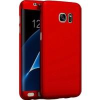 Kapakevi Samsung Galaxy S7 360 Tam Koruma Camlı Kılıf Kırmızı