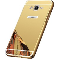 Kapakevi Samsung Galaxy J3 2016 Aynalı Metal Bumper Kılıf Gold