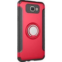 Kapakevi Samsung Galaxy J7 Prime Mıknatıslı Selfie Yüzük Standlı Ultra Koruma Kılıf Kırmızı
