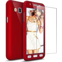 Kapakevi Samsung Galaxy J7 Pro 360 Tam Koruma Camlı Kılıf Kırmızı