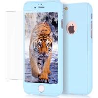 Kapakevi iPhone 7 360 Tam Koruma Camlı Kılıf Buz Mavisi