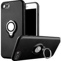 Kapakevi iPhone 6 / 6S Mıknatıslı Selfie Yüzüklü Kadife Dokulu TPU Kılıf Siyah