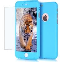 Kapakevi iPhone 6 / 6S Plus 360 Tam Koruma Camlı Kılıf Mavi