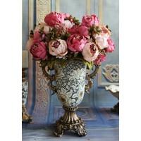 Yapay Çiçek Lüx Marsilya Gülü Aranjmanı Pembe