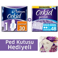 Orkid Fırsat Paketi Platinum Hijyenik Ped Normal 30'lu + Günlük Ped 48'li + Ped Kutusu