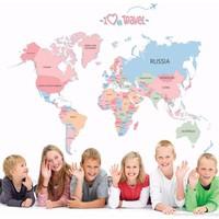 Crystal Kids Dünya Haritası Ülkeler Atlası Siyasi Harita Renkli PVC Duvar Sticker