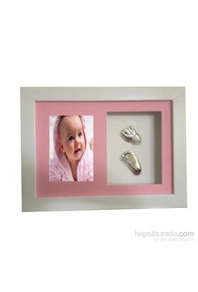 Küçük İzler Beyaz Çerçeveli Resimli Aljinat ile 3 boyutlu Bebek El-Ayak İzi Heykeli Seti