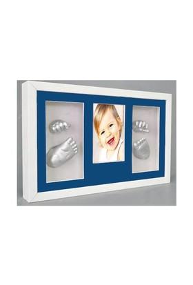 Küçük İzler Beyaz Çerçeveli Resimli 3 Bölmeli, Aljinat ile 3 boyutlu Bebek 2 El-2 Ayak İzi Heykeli Seti