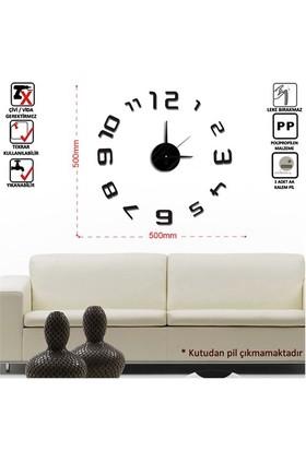 Tüyball Siyah Sticker Duvar Saati