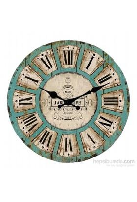 Ahşap Yuvarlak Retro Style Duvar Saati 50X50x5cm