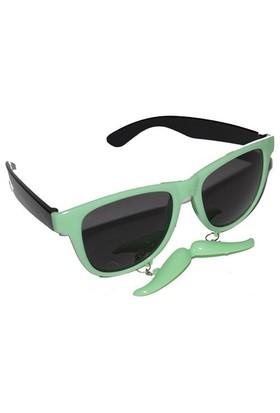 Pandoli Bıyıklı Parti Gözlüğü - Su Yeşili
