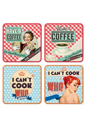 Say It 50'S Coffee & Cook Bardak Altlığı (4 Lü Set)
