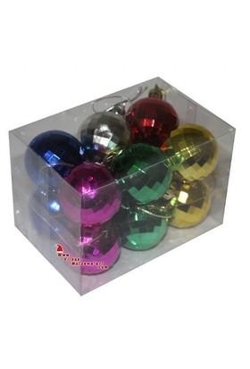 Pandoli 4 Cm Kristalize Karışık Renk Yılbaşı Çam Ağacı Cici Top Süs 12 Adet