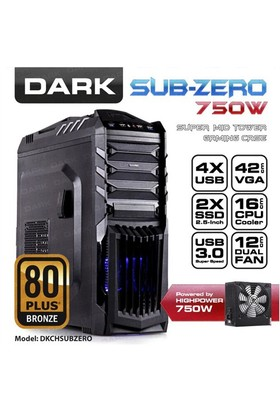 Dark Sub-Zero 80+ 750W SSD Ready ATX Siyah Oyuncu Kasası (DKCHSUBZERO750)