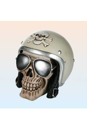 Out Of The Blue Skull With Helmet Savings Bank - Kaskli Kurukafa Kumbara