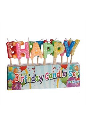 Out Of The Blue Letter Candles Happy Bırthday Wıth Glıtter - Harfli Pasta Mumları