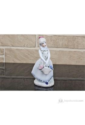 Fidex Home Porselen Çiçek Çantalı Kız