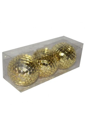 Pandoli 3 Lü Yılbaşı Altın Sarısı Aynalı Cici Top 7 Cm