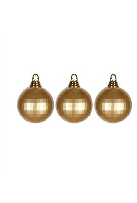 Pandoli 8 Cm Altın Renk Aynalı Disko Topu Süs 3 Adet