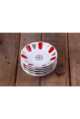 Porland Porselen Çay Tabağı 6 Lı Kırmızı Kahveci Mğz